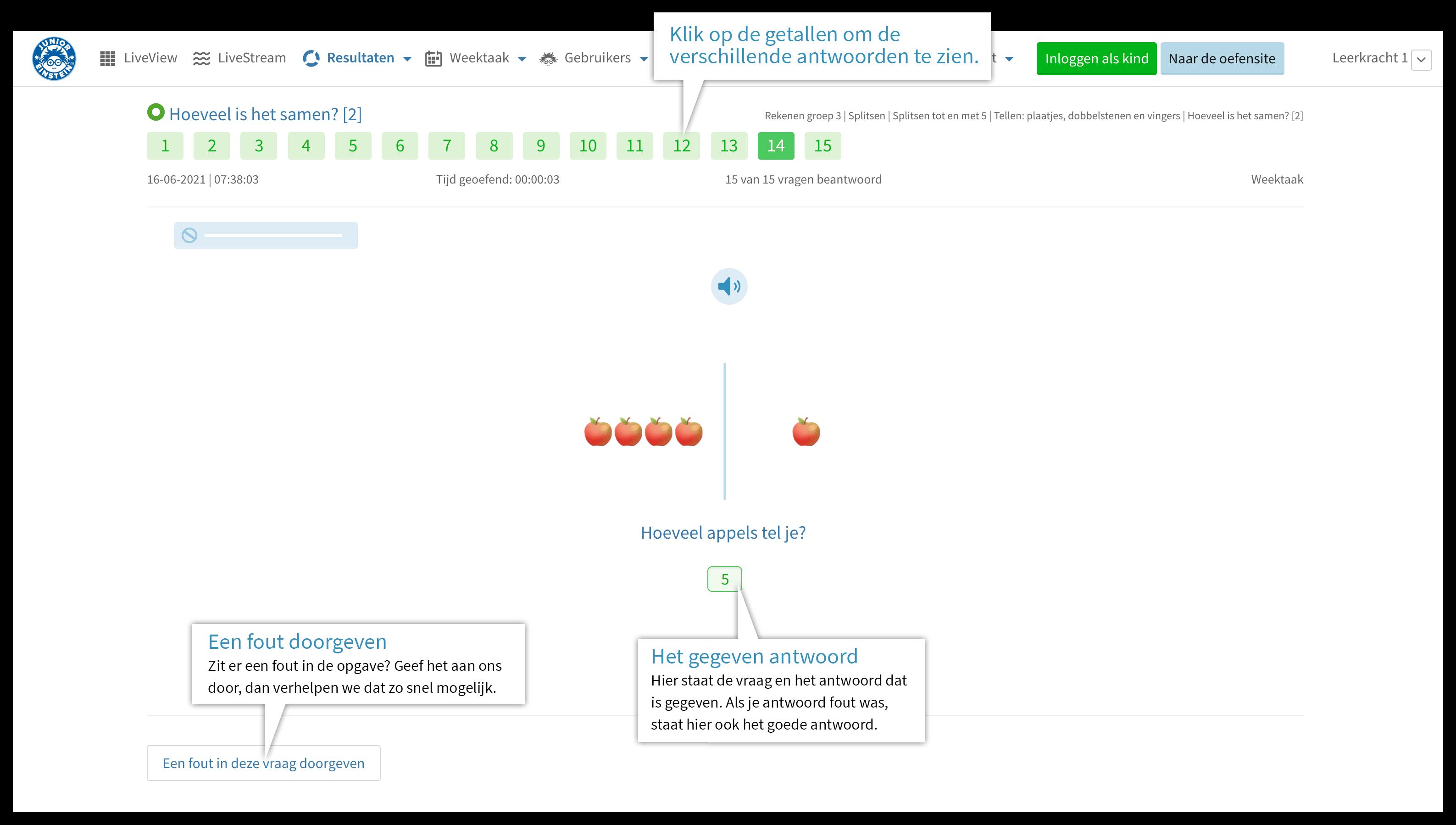 Resultaten - gegeven antwoord