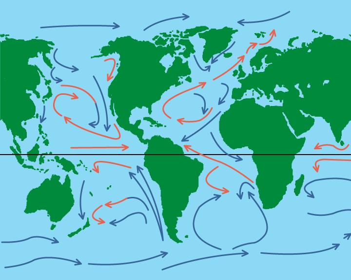 zeestromen, warme en koude zeestromen, aardrijkskunde, groep 8, basisonderwijs online oefenen