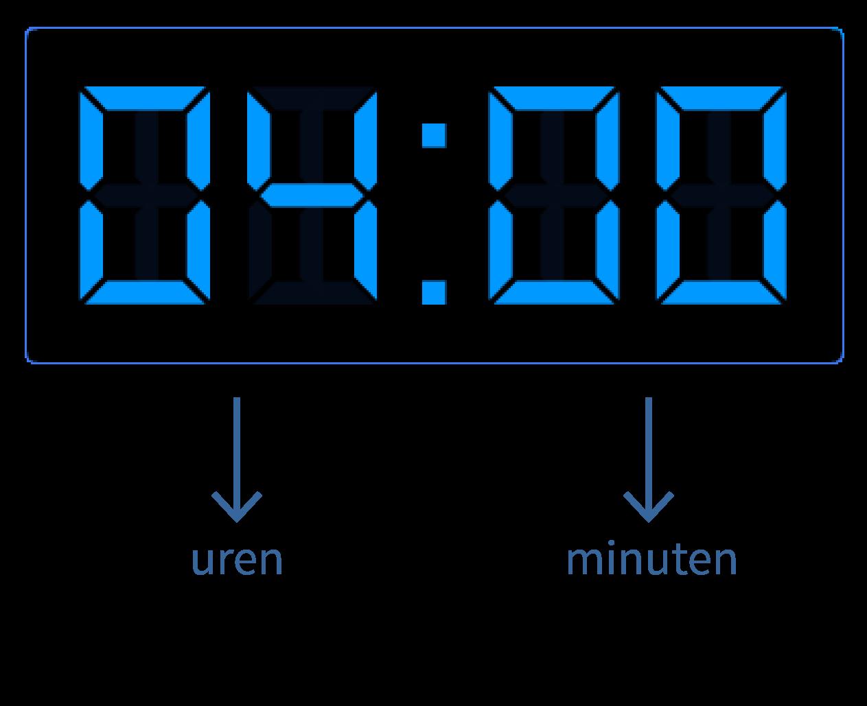 Hele uren op de digitale klok
