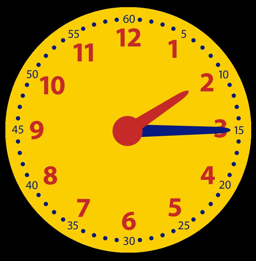 Hoe laat is het als het een kwartier later is? Oefenen met klokkijken.