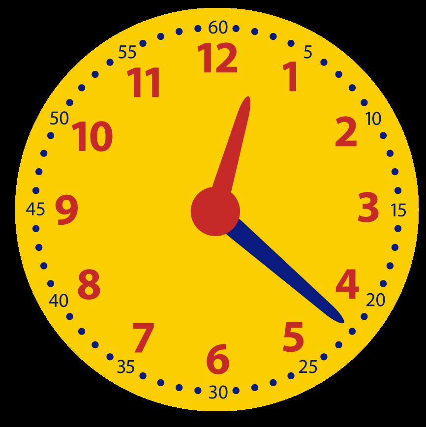 Minuten voor half aflezen op de analoge klok. Leren klokkijken.