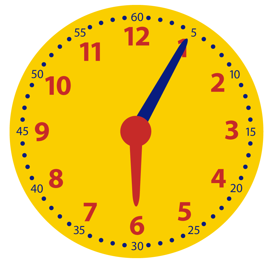 5 over het hele uur. Leren klokkijken met minuten.