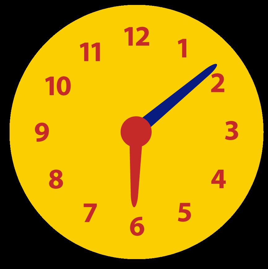 Hoe laat is het ongeveer op de klok? Minuten ongeveer aflezen. Over, voor half, over half en voor het hele uur.