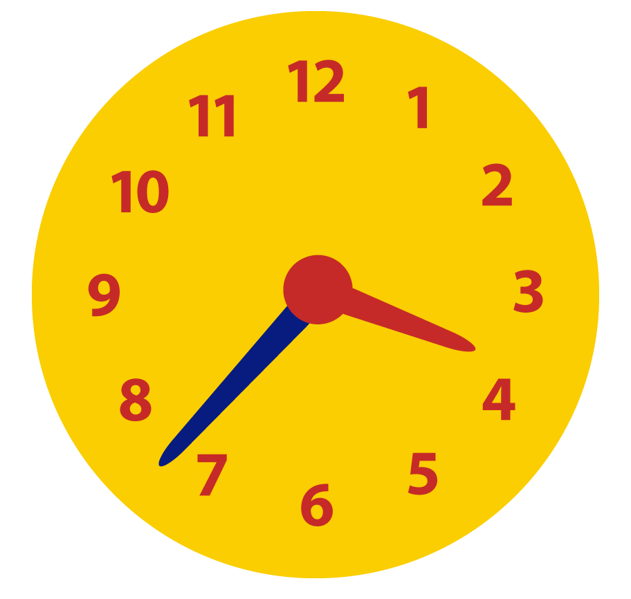 Klokkijken. Hoe laat is het ongeveer? Minuten over half aflezen op de analoge klok.