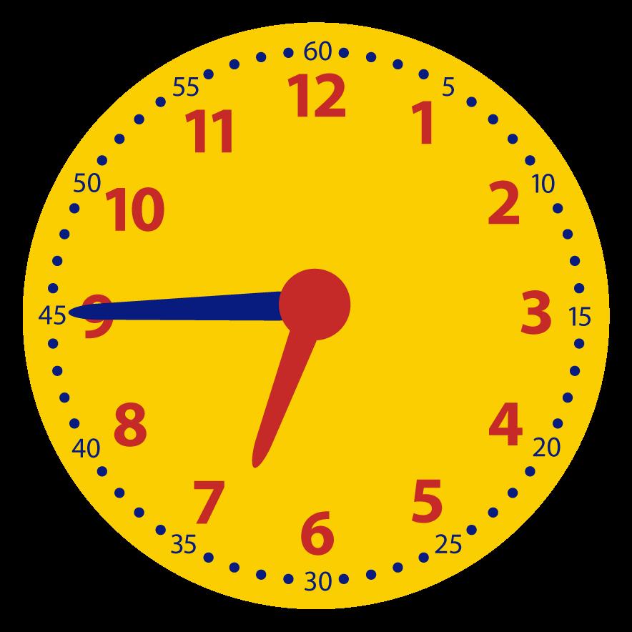 Kwart voor op de digitale klok. Welke digitale tijd hoort bij de analoge tijd?