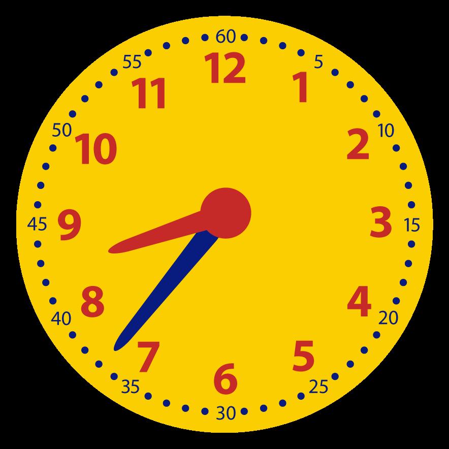7 minuten over half. Analoge en digitale tijd koppelen.