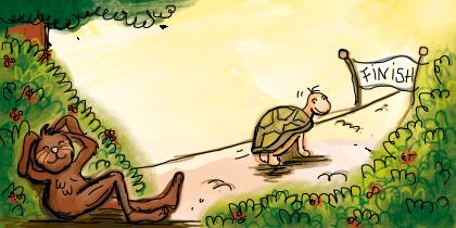 schildpad en de haas, begrijpend lezen groep 6, online oefenen