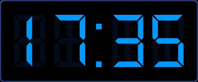 5 over half op de digitale klok.