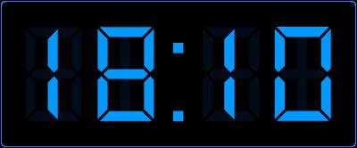 10 minuten over op de digitale klok.