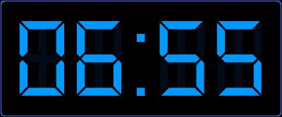 5 voor op de digitale klok. Een kwartier later. Hoe laat is het dan op de digitale klok?