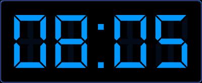 Oefenen met kwartieren op de digitale klok. 5 over 8 op de digitale klok.