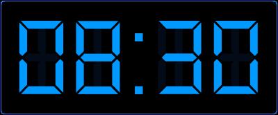 Halve uren op de digitale klok. Een half uur vroeger.