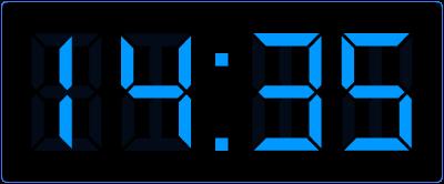 5 minuten over half op digitale klok.