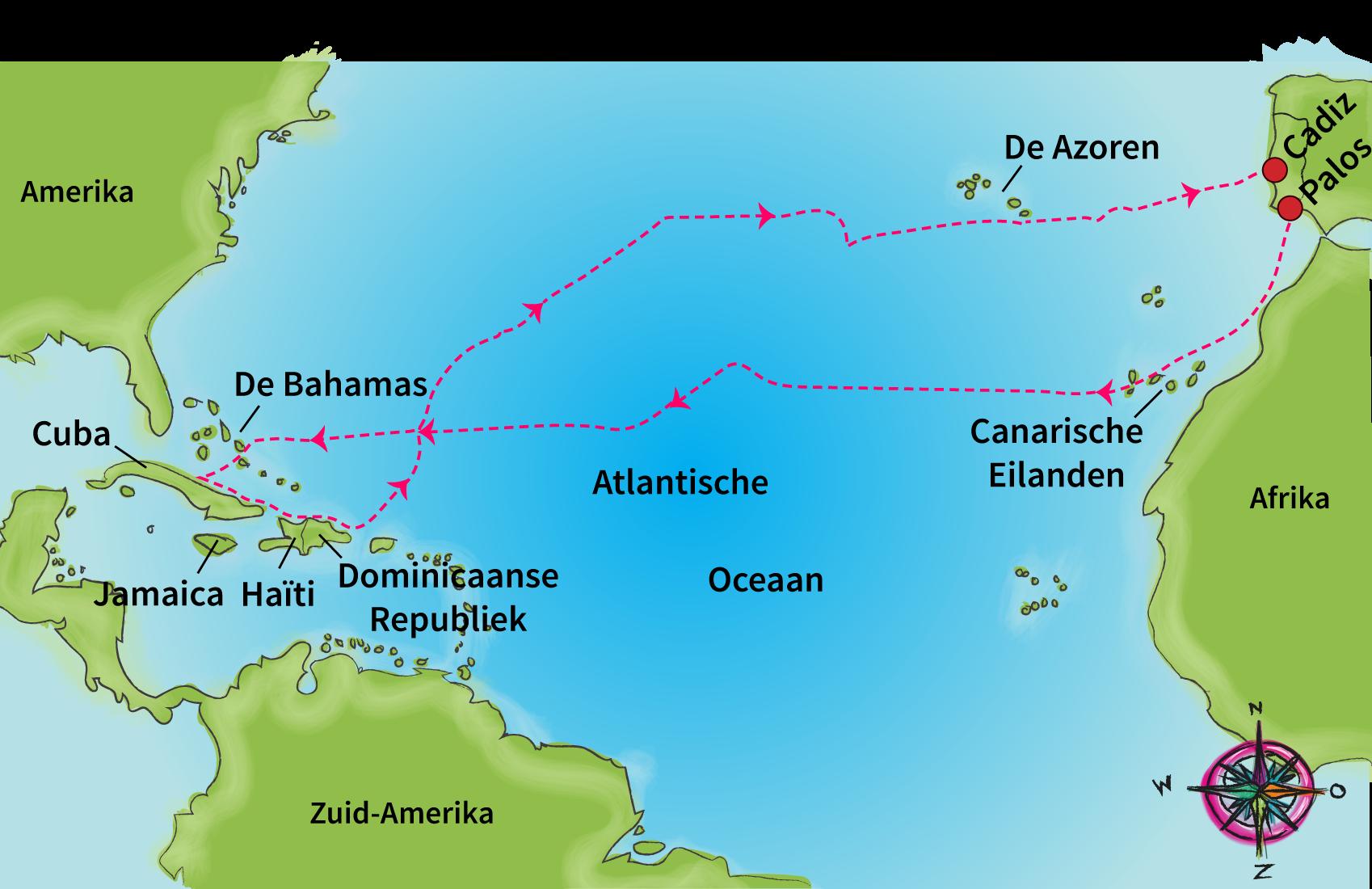 Tijd van ontdekkers en hervormers - Eerste reis van columbus