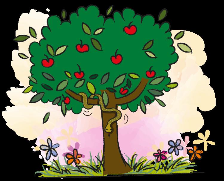 Tuin, boom, Adam en Eva