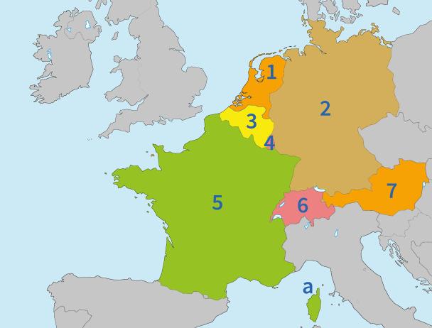 Europa, West-Europa, steden, landen, topo, topografie, aardrijkskunde, topo-oefenen, oefenen