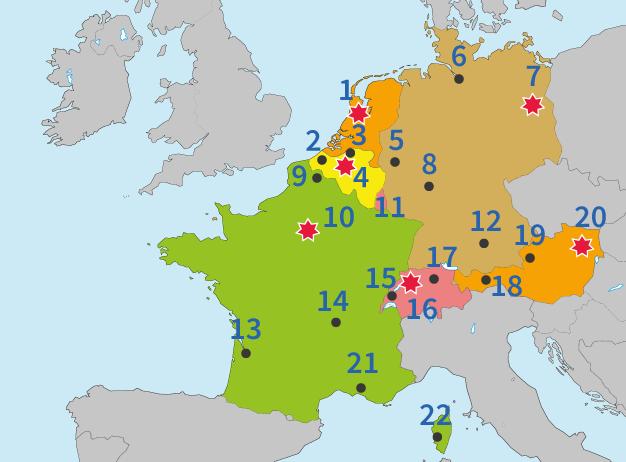 Europa, West-Europa, steden, landen, topo, topografie, aardrijkskunde, topo-oefenen, oefenen, steden, hoofdsteden