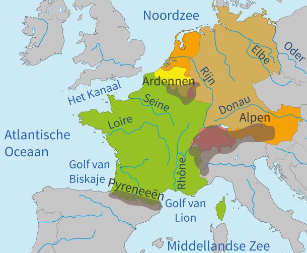 topo, topografie, aardrijkskunde, Europa, wateren, gebergten, rivieren