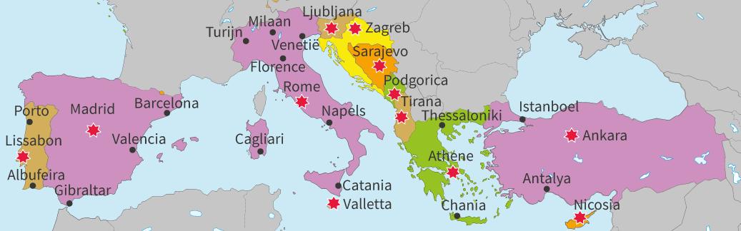 junior einstein, topografie, oefenen, zuid, europa, landen, steden, hoofdsteden