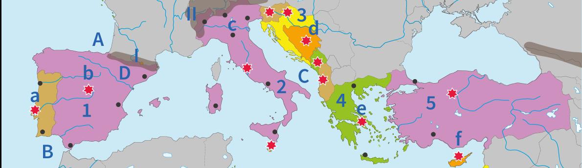 junior einstein, topografie, oefenen, zuid, europa, landen, gebergten, rivieren, wateren, steden, hoofdsteden