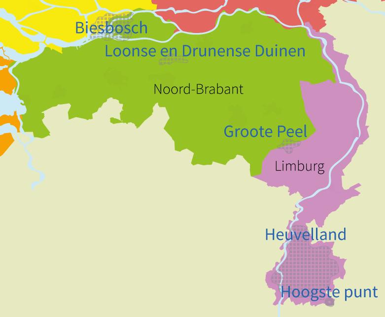 topografie, junior einstein, oefenen, regio's, gebieden, zuid, nederland