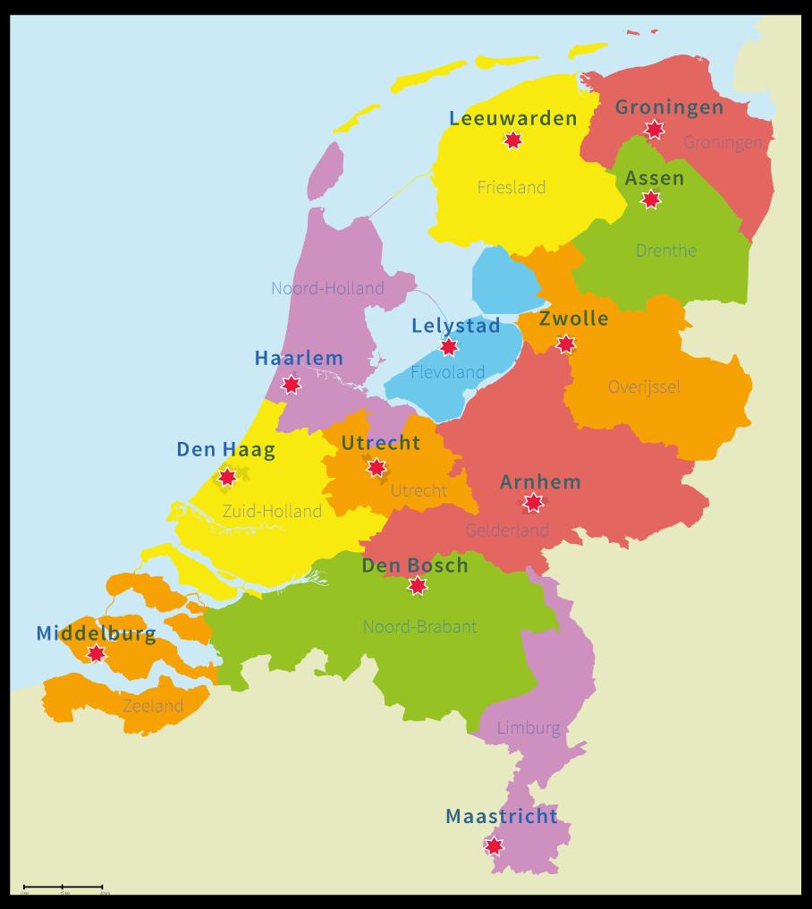 topo Nederland, alle provincies met hoofdsteden