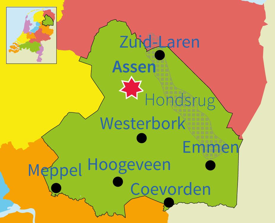 junior einstein, topografie, oefenen, provincie, Nederland, Drenthe