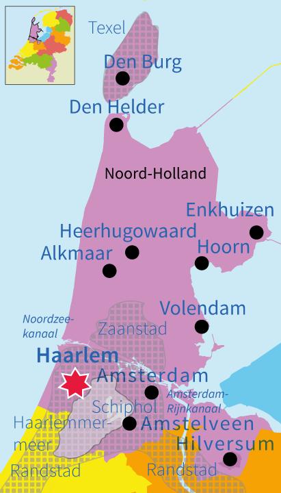 topografie, junior einstein, Nederland, Noord-Holland, provincie, plaatsen,
