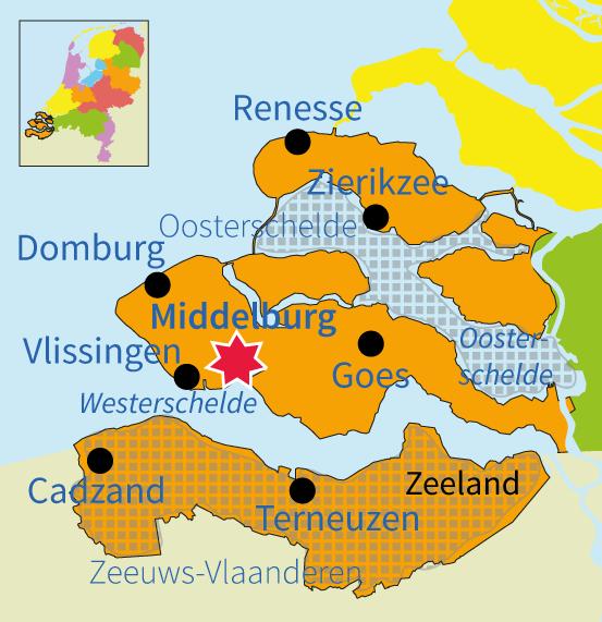 Nederland, topo, topografie, Zeeland, plaatsen, steden, gebied, gebieden