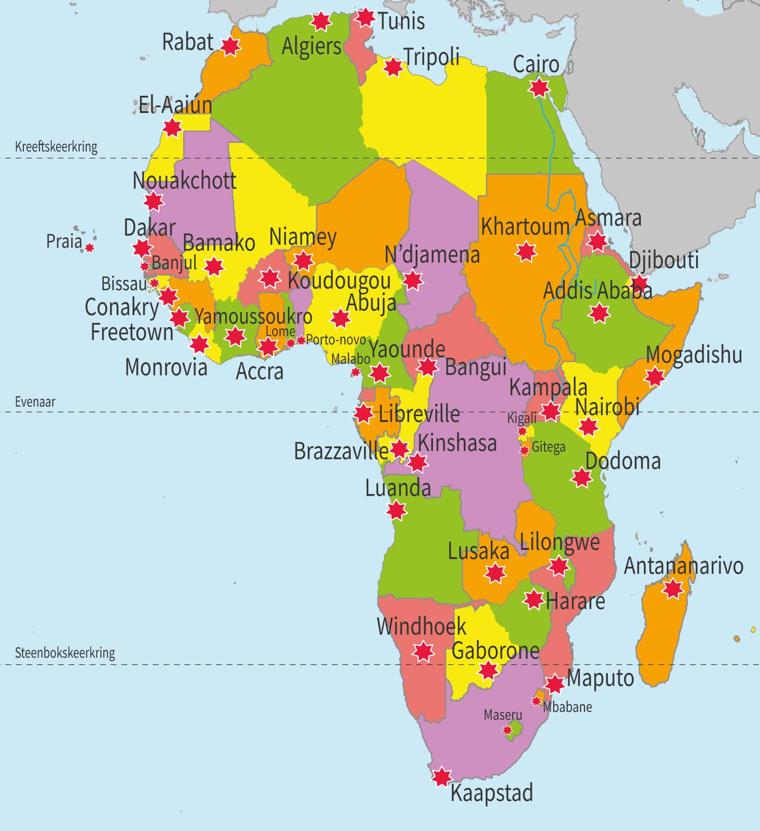 topo, topografie, Afrika, landen, Afrikaanse landen, continent Afrika, aardrijkskunde, groep 8, Junior Einstein, oefenen, steden, hoofdsteden
