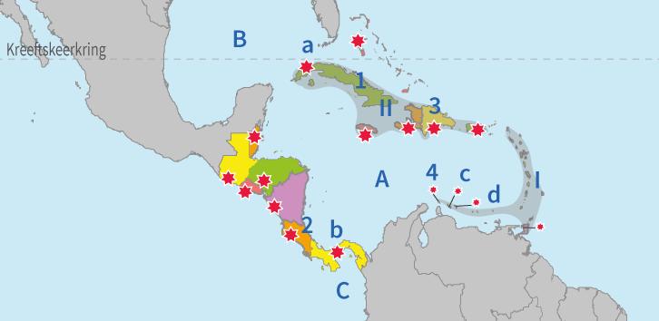 topo, topografie, Midden-Amerika, steden, landen, wateren, gebieden, Caribisch gebied, eilanden, aardrijkskunde, Junior Einstein