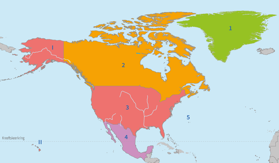junior einstein, oefenen, topografie, noord, amerika, landen, wateren, gebergten, plaatsen, hoofdsteden