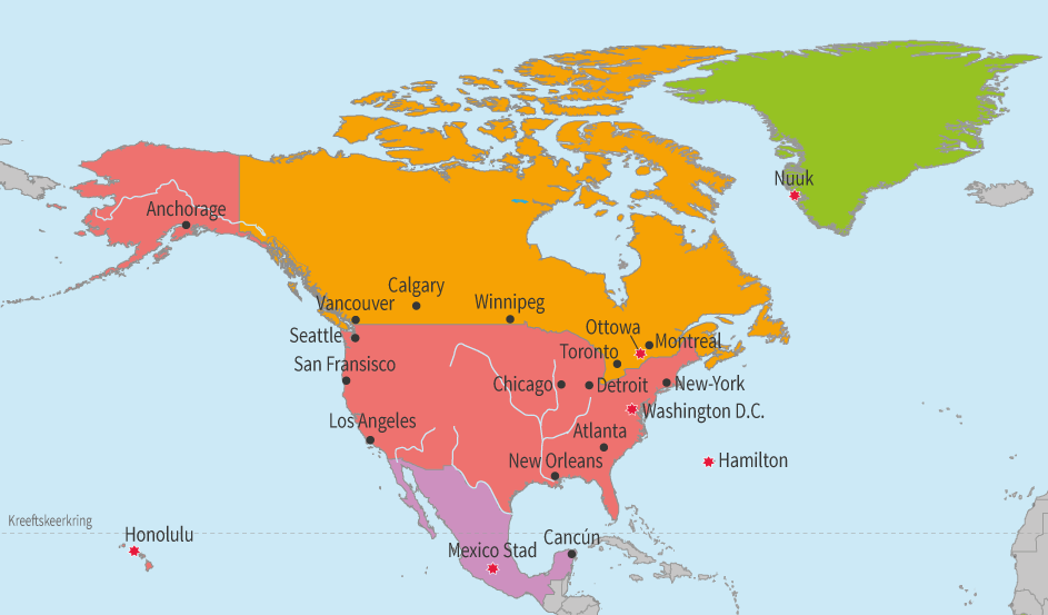 junior einstein, oefenen, topografie, noord, amerika, hoofdsteden