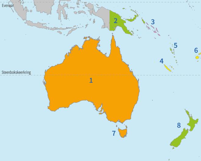 Oceanië, Australië, Nieuw-Zeeland, topo, topografie, eilanden, landen, aardrijkskunde