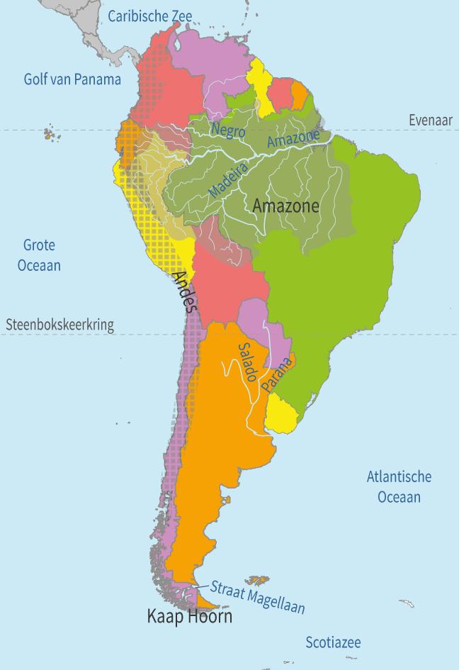 topo online oefenen, zuid-amerika, wateren, gebieden en gebergten