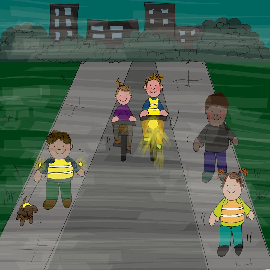 Veilig in het donker op straat, verkeer oefenen, groep 2