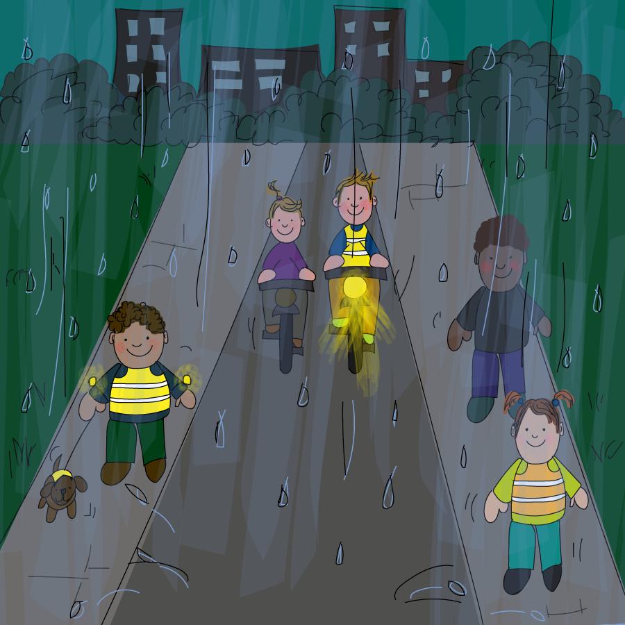 regen in het verkeer