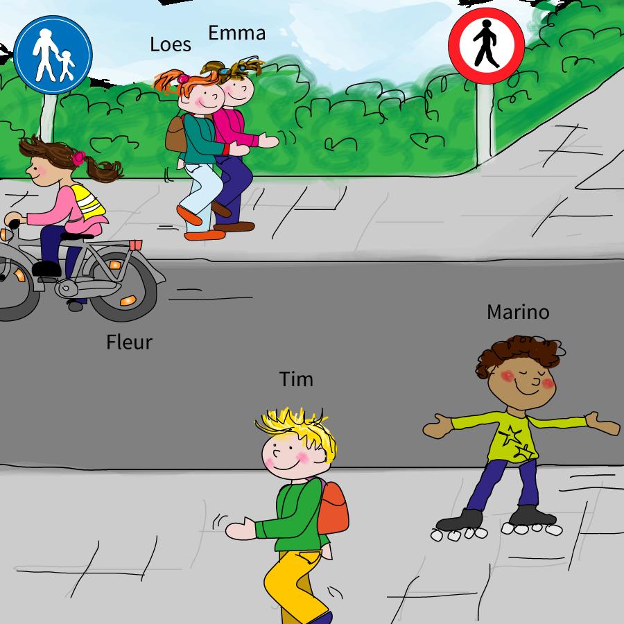Waar moet je lopen als voetganger? Voetgangers in het verkeer, online verkeer oefenen, groep 2, junior einstein