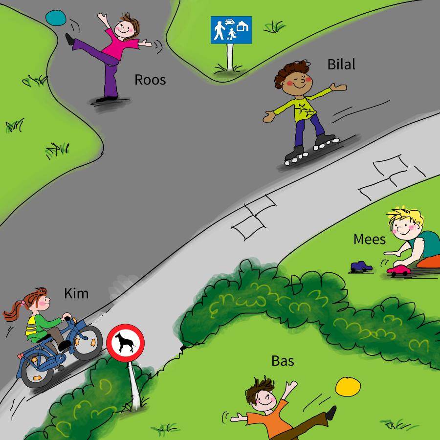 Verkeer voor groep 2, online verkeer oefenen voor kleuters, praatplaten verkeer, veilig spelen