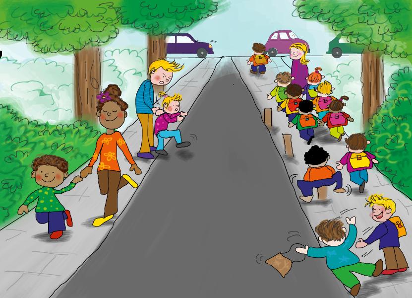 Samen lopen in het verkeer, online verkeer oefenen, Junior Einstein