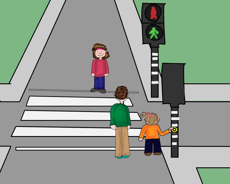 oversteken bij het voetgangerslicht, groep 2