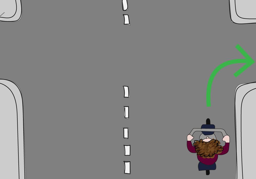 Kleine bocht naar rechts