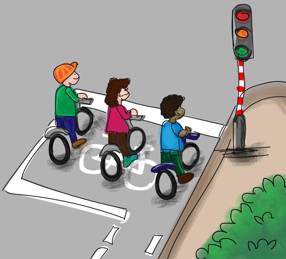 Het opstelvlak voor fietsers, voorsorteren op de weg.