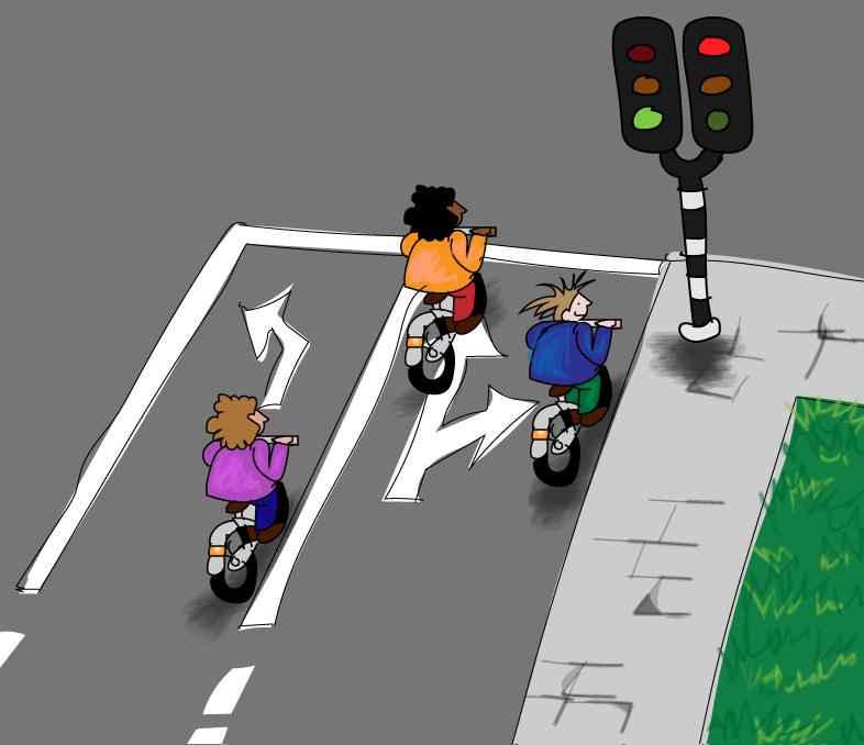 Voorsorteren op de fiets, voorsorteervlak fietsers, verkeer oefenen, groep 7