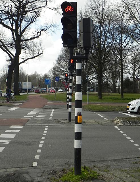 Verkeerslicht voor fietsers. Online oefenen verkeersexamen.