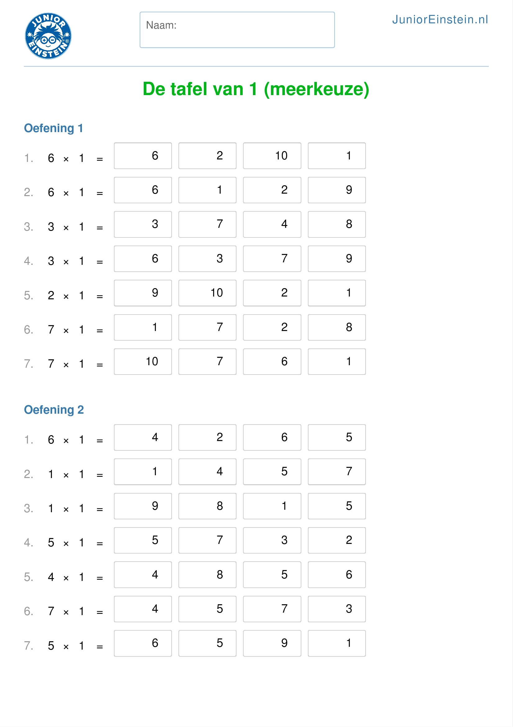 Werkblad de tafels van 1 tot en met 12 meerkeuze for Tafels met antwoorden